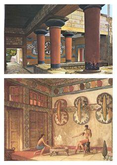 Sala de las dobles Hachas, palacio de Knossos, CRETA - De los pocos frescos que quedan en el palacio