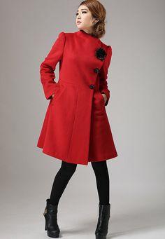 Cappotto rosso inverno cachemire lana giacca cappotto di xiaolizi
