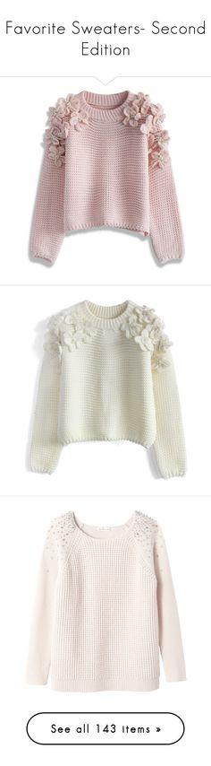 """""""Favorite Sweaters- Second Edition"""" by happilyjynxed ❤ liked on Polyvore featuring tops, sweaters, shirts, jumpers, pink, pearl shirt, shirt sweater, flower sweater, embellished sweaters and pink jumper"""