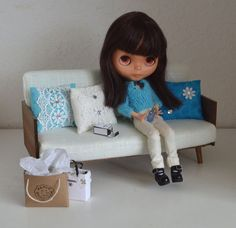 1/6 scale_doll sofa_mid century_Barbie_Blythe_Momoko_Fashion Royalty_Pullip_BJD_daybed_dollhouse furniture_living room couch_diorama sofa