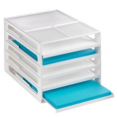 Stackable Desktop Paper Sorter from the Container Store ($19.99) for organizing different kinds of paper in the office.