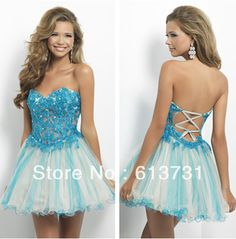New Arrival Free Shipping 2013 Custom Made Sexy Tulle Sweetheart Blue Lace Up Cheap Short Corset Homecoming Dresses 48034N