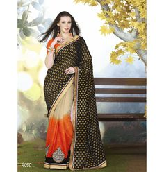 Saree :: Trendy Half and Half Beige Orange and Black Saree with Orange Blouse.