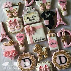 Baby Dior themed baby shower cookies by You Can Call Me Sweetie Fancy Cookies, Cute Cookies, Royal Icing Cookies, Heart Cookies, Galletas Decoradas Baby Shower, Galletas Cookies, Cupcakes, Cupcake Cookies, Sugar Cookies