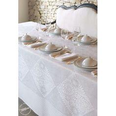 """Nappe LE JACQUARD FRANCAIS """"BOSPHORE"""" Blanc - Nappe, serviette de table, set et chemin de table damassés du Jacquard Françai"""