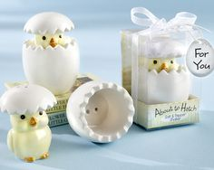 """""""About to Hatch"""" Ceramic Baby Chick Salt & Pepper Shakers at Elegant Baby Favors. We're your number one source for baby shower favors. Kitchen themed baby shower favors at discount prices! Bride Shower, Wedding Shower Gifts, Baby Shower Favors, Shower Party, Baby Shower Parties, Wedding Favors, Baby Shower Gifts, Party Favors, Wedding Gifts"""