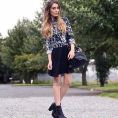 Shop this look on Kaleidoscope (top, skirt, bootie, purse, headband)  http://kalei.do/WFsTz8bjZKBGgbvL