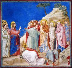 Giotto - La resurrezione di Lazzaro 1304-13. Padova, Cappella degli Scrovegni