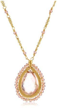 Dana Kellin Vintage Rose Quartz and Crystal Necklace