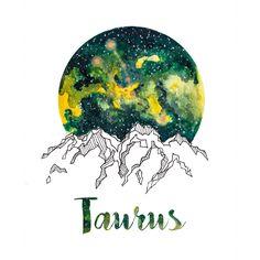 Taurus Zodiac Watercolor Print by PickledCherryblossom on Etsy