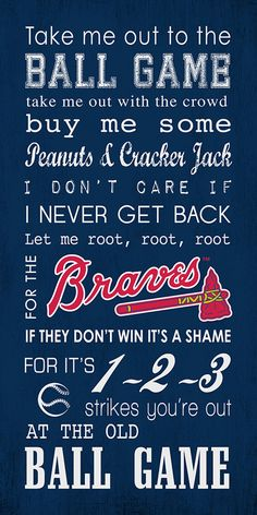 Atlanta Braves Take Me Out To The Ball Game 10x20 Subway Art Gallery Wrap