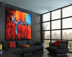 Large Abstract Contemporary Square Painting On Canvas, Modern Orange Red Blue Wall Art Painting, Handmade Original Wall Decor Art Please click MORE tab below to read full description. READY TO SHIP for 48x48 x1.5 Unstretched/Stretched MEDIUM: High Quality Acrylics, varnish coat
