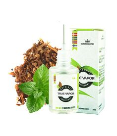 E-LIQUID - TOBACCO/MINT MIX € 3.80 Tobacco / Mint Mix has a smooth tobacco flavor with a hint of fresh mint.  This e-liquid has a taste for those who want to combine the taste of tobacco with a touch of mint. The good tobacco taste is paramount with a fresh breeze of mint.  Both tobacco flavor and mint flavor, is made from natural extracts from tobacco and mint leaves. This ensures an original flavor that does not taste artificial or chemically.