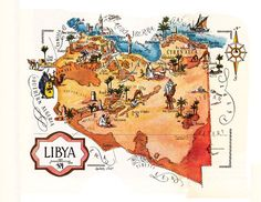 old map of Libya, a pictorial map by Jacques Liozu, 1946, this is a good source for high quality printable vintage maps and illustrations. #oldmapoflibya #pictorialmaps #jacquesliozu