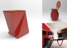 Qubo Badis rojo Ferrari Design.me (izquierda) VASE (arriba derecha) en match perfecto con una cocina brutal de Snaidero Decor, Waste Container, Cubes, Cooking, Decoration, Decorating, Deco