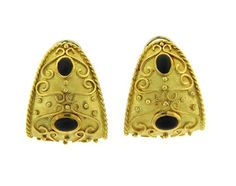Large 18K Gold Jet Half Hoop Earrings Featured in our upcoming auction on July 26!