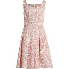 Oscar De La Renta Pleated floral-print cloqué dress (£1,805) ❤ liked on Polyvore featuring dresses, white print, white party dresses, summer dresses, white dress, floral fit-and-flare dresses and floral print dress