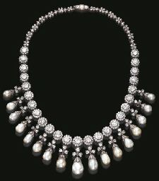 AN EXQUISITE ANTIQUE PEARL AND DIAMOND NECKLACE decorated with a fringe of seventeen drop-shaped graduated pearls, measuring from approximately 7.50 to 12.60 mm, enhanced by an old European and single-cut diamond cap, suspended by an old mine and old European-cut diamond trefoil motif, from a series of similarly-set floret links, to the backchain of alternately-set old mine and single-cut diamond quatrefoil and lozenge-shaped links,  circa 1900, 17 ins.