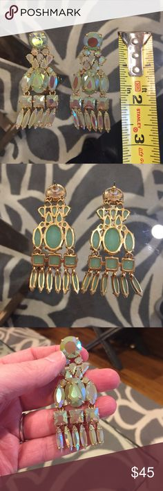 Jcrew iridescent deco statement earrings Fabulous! J Crew iridescent statement chandelier deco earrings. Greenish blue cast. Catches the light and owns the night! (See what I did there). J. Crew Jewelry Earrings