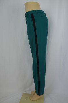 Narciso Rodriguez Womens 8 Solid Teal Blue Flat Front Dress Pants Slacks Striped…