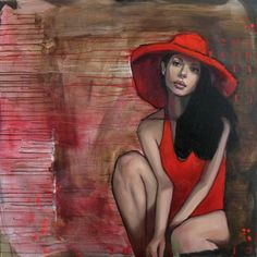 "Saatchi Online Artist: Pascale Taurua; Mixed Media Painting ""English Hat"""
