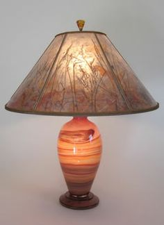 """""""Pink Desert"""" Lindsay Art Glass Table Lamp & Mica Lamp shade with Grasses and Butterflies"""