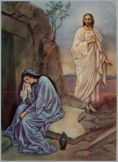 The meaning of Easter and the essence of Christianity, Jesus conquered the grave, beautiful vintage print Jesus Is Risen, He Is Risen, Jesus Christ, Religious Photos, Religious Art, Catholic Pictures, Mary Magdalene And Jesus, Easter Cards Religious, Jesus Resurrection