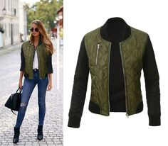 Ladies Casual Contrast Quilted Padded Short Bomber-Style Jacket 3 Colors S-XL