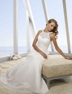 discount beach wedding dresses hign neck