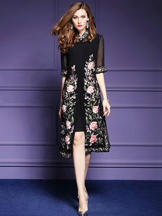 Black Embroidered Floral Mandarin Neckline Midi Dress – Best Of Likes Share Women's Dresses, Dresses For Teens, Simple Dresses, Elegant Dresses, Women's Fashion Dresses, Cute Dresses, Beautiful Dresses, Formal Dresses, Fashion 2018