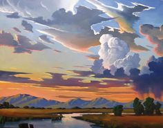 SUPERB, ORIGINAL WILLIAM HAWKINS LANDSCAPE, SUNSET PAINTING, CLOUDS, MOUNTAINS | eBay Abstract Landscape, Landscape Paintings, Landscapes, Cloud Art, Sky Painting, Sky And Clouds, Painting Techniques, Watercolor Art, Scenery