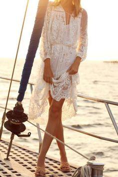Ladylike V-Neck White Flower Pattern See-Through Long Sleeve Dress For Women