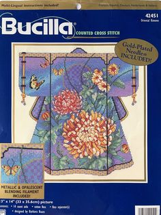 Advanced level cross stitch kit on 14 count aida by Bucilla called Oriental Kimono brought to you by KindredClassics on Etsy Tapestry Kits, Oriental Design, Needlepoint Kits, Counted Cross Stitch Kits, Counting, Kimono, Etsy, Kimonos