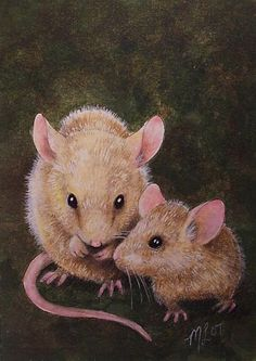 Tiny Mouse and Baby Miniature Art by Melody Lea Lamb ACEO Print #456