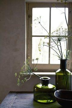 green glass window still life photo whitenoten Deco Floral, Arte Floral, Ikebana, Bottles And Jars, Glass Bottles, Still Life Photos, Home And Deco, Still Life Photography, Wabi Sabi