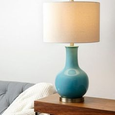 SP-30690-BLU - GOURD FRENCH BLUE CERAMIC TABLE LAMP