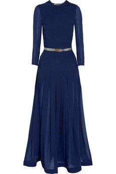 Belted silk and cashmere-blend gown by Alessandra Rich