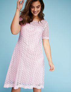 Short-Sleeve Lace Swing Dress   Lane Bryant