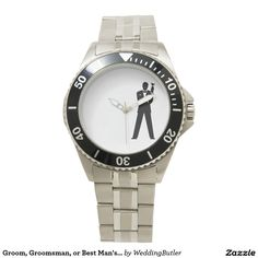 Groom, Groomsman, or Best Man's Watch.  Purchase at zazzle.com/weddingbutler* #WeddingButler #WeddingWatch