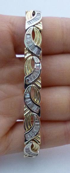 2 Tone Gold 3.6 Carat Diamond Bracelet - Baguette Diamonds Tennis Bracelet