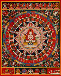 Chandra Mandala by ssuwal. The moon god Chandra is majestically seated on his… Tibetan Mandala, Tibetan Art, Tibetan Rugs, Buddhist Symbols, Buddhist Art, Mandala Buddhist, Buddha Buddhism, Tibetan Buddhism, Nepal
