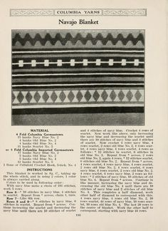 Vintage tapestry crochet pattern -- Photo shows half of blanket. Not as difficult as it looks, just a lot of counting. #throw