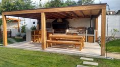 An outdoor kitchen can be an addition to your home and backyard that can completely change your style of living and entertaining. Earlier, barbecues temporarily set up, formed the extent of culinary attempts, but now cooking outdoors has become an. Indoor Outdoor Kitchen, Backyard Kitchen, Outdoor Living, Backyard Covered Patios, Backyard Patio Designs, Diy Varanda, Backyard Pavilion, Design Jardin, Corner Garden