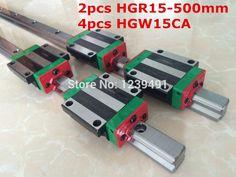 144.00$  Buy here - http://ali74h.shopchina.info/go.php?t=2051456935 - 2pcs original hiwin linear rail HGR15 - 500mm  with 4pcs HGW15CA flange block cnc parts 144.00$ #buyonlinewebsite
