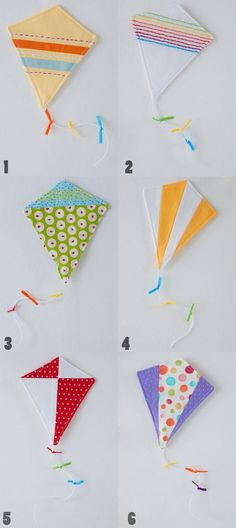 Kites would make a beautiful mobile for a nursery Baby Crafts, Felt Crafts, Diy And Crafts, Crafts For Kids, Arts And Crafts, Paper Crafts, Sewing Crafts, Sewing Projects, Craft Projects
