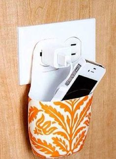 Cell phone charger holder - Perfect for your room so it doesn't drag on the floor!