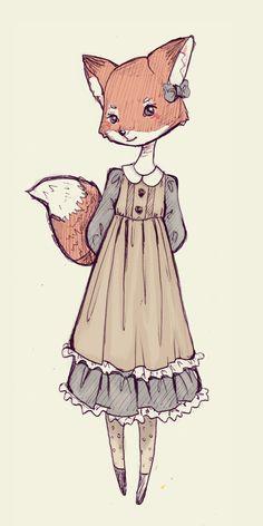 Fox Girl in a dress - the little bone cupboard (ninelyn-art: Sketch - Mori FoxGirl) Pretty Art, Cute Art, Animal Drawings, Cute Drawings, Fuchs Illustration, Fox Art, Hippie Art, Character Design Inspiration, Anime Comics