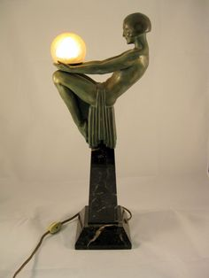 Large Le Verrier Art Deco Lamp