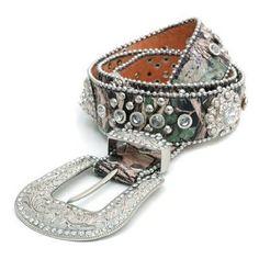 Women's Camouflage Rhinestone Studded Fashion Leather Belt w/ Jeweled Sun Ornament Genuine Leather  Price:$48.50
