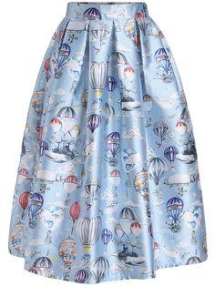 Sky Blue Balloon Print Flare Skirt Perfect for Women!